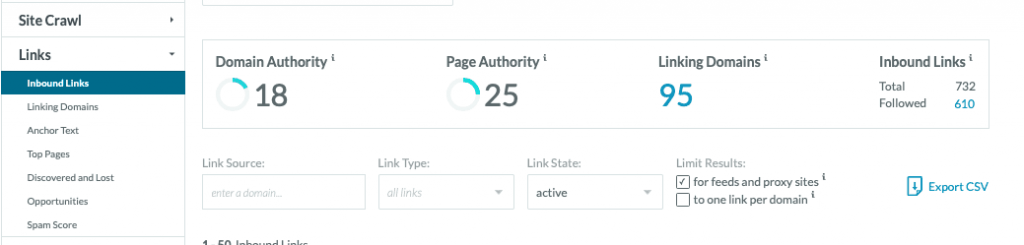 Check Inbound Links with Moz