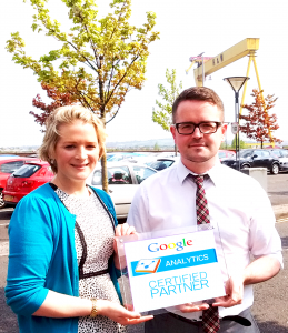 Joanne and Michael with the Google Analytics Certified Partner badge