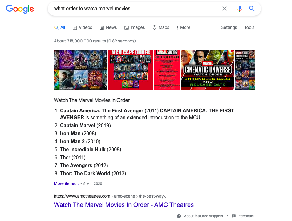 Ordered List Featured Snippet
