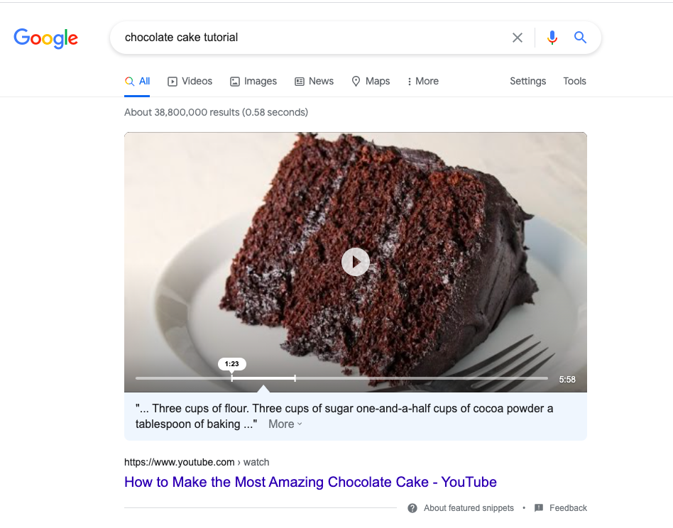 YouTube Featured Snippet