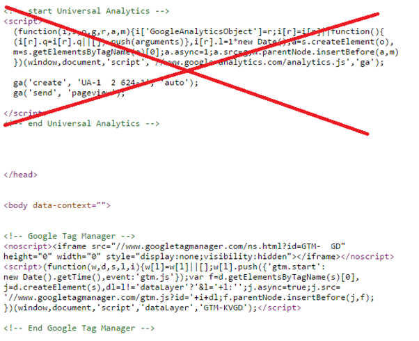 Google Analytics and Google Tag Manager code at the same time.